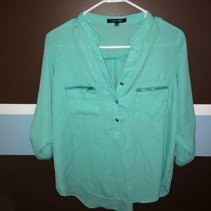 Tops - Tiffany blue sheer blouse